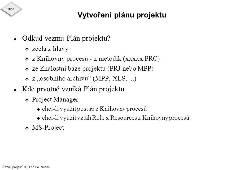 Řízení projektů IS, Oto Hausmann HOP Vytvoření plánu projektu l Odkud vezmu Plán projektu? é zcela z hlavy é z Knihovny procesů - z metodik (xxxxx.PRC