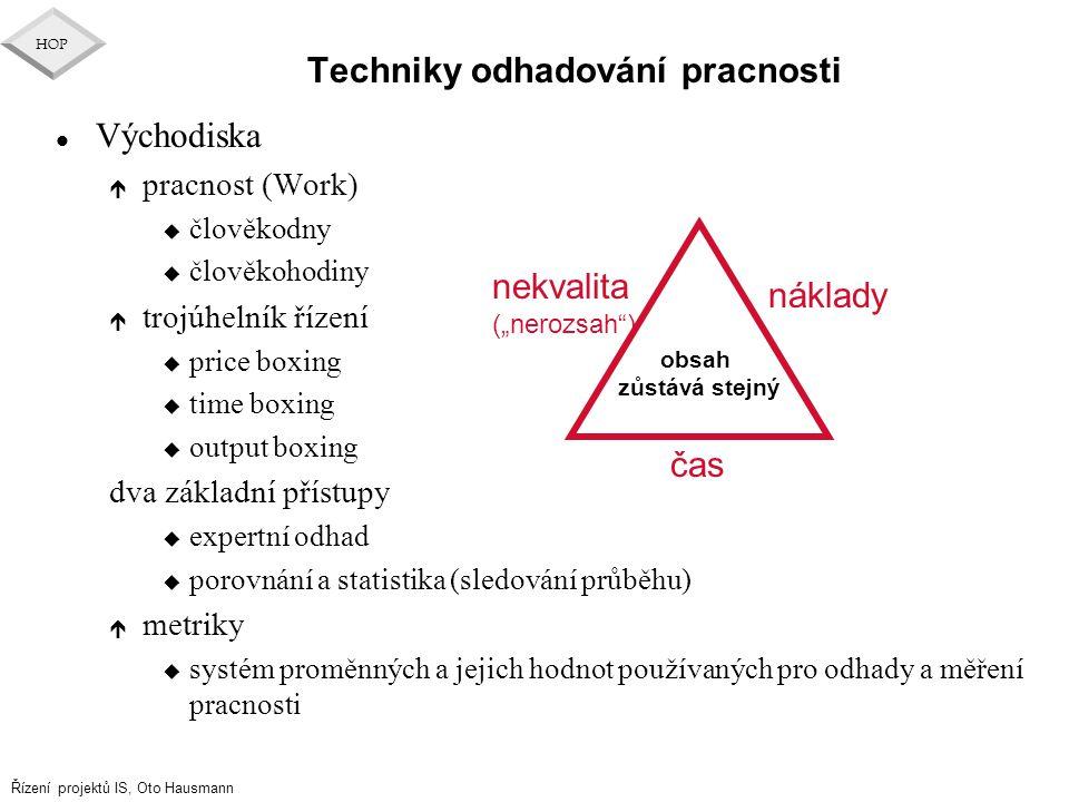 Řízení projektů IS, Oto Hausmann HOP Techniky odhadování pracnosti l Východiska é pracnost (Work) u člověkodny u člověkohodiny é trojúhelník řízení u