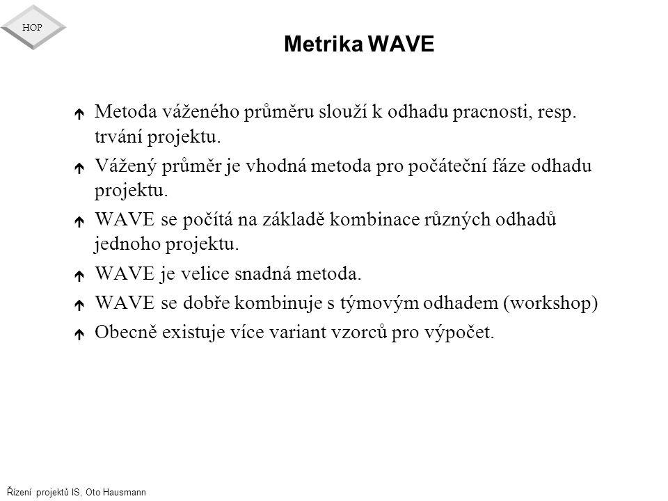 Řízení projektů IS, Oto Hausmann HOP Metrika WAVE é Metoda váženého průměru slouží k odhadu pracnosti, resp. trvání projektu. é Vážený průměr je vhodn