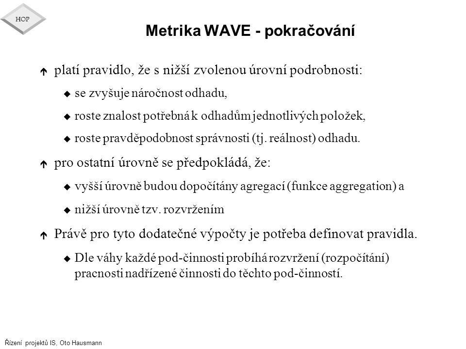 Řízení projektů IS, Oto Hausmann HOP Metrika WAVE - pokračování é platí pravidlo, že s nižší zvolenou úrovní podrobnosti: u se zvyšuje náročnost odhad