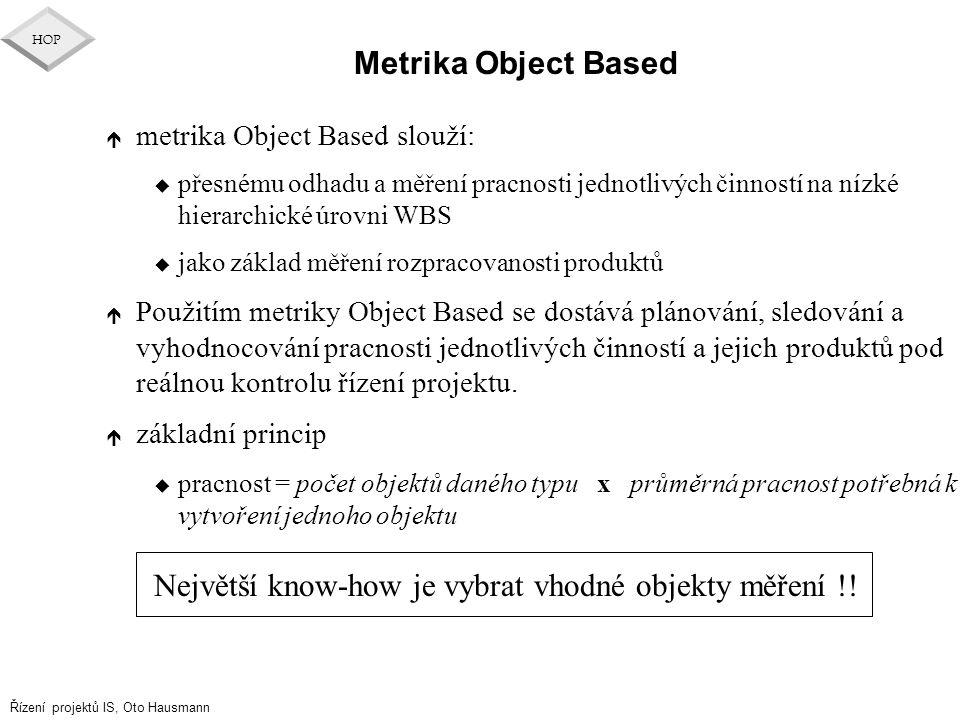 Řízení projektů IS, Oto Hausmann HOP Metrika Object Based é metrika Object Based slouží: u přesnému odhadu a měření pracnosti jednotlivých činností na