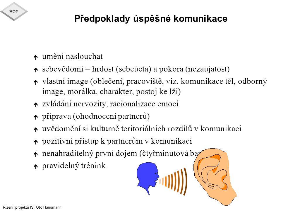 Řízení projektů IS, Oto Hausmann HOP Předpoklady úspěšné komunikace é umění naslouchat é sebevědomí = hrdost (sebeúcta) a pokora (nezaujatost) é vlast