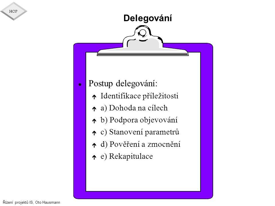 Řízení projektů IS, Oto Hausmann HOP Delegování l Postup delegování: é Identifikace příležitosti é a) Dohoda na cílech é b) Podpora objevování é c) St