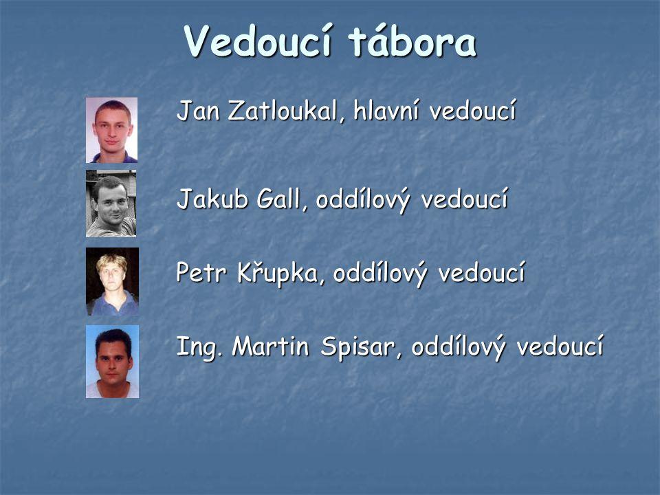 Vedoucí tábora Jan Zatloukal, hlavní vedoucí Jakub Gall, oddílový vedoucí Petr Křupka, oddílový vedoucí Ing.