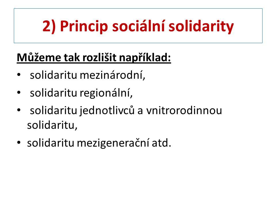 2) Princip sociální solidarity Můžeme tak rozlišit například: solidaritu mezinárodní, solidaritu regionální, solidaritu jednotlivců a vnitrorodinnou s