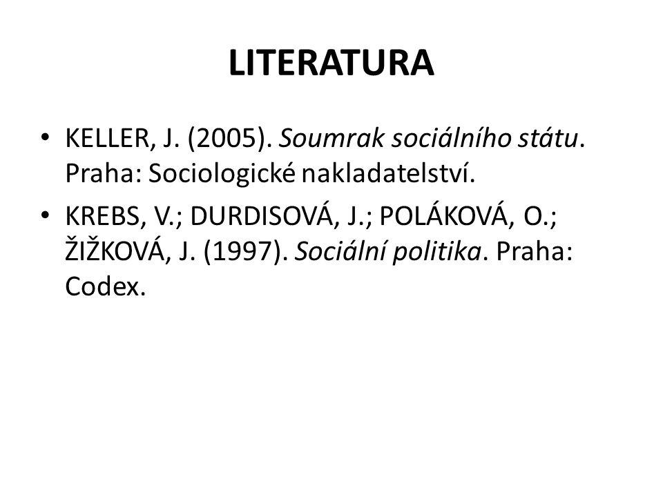 LITERATURA KELLER, J. (2005). Soumrak sociálního státu. Praha: Sociologické nakladatelství. KREBS, V.; DURDISOVÁ, J.; POLÁKOVÁ, O.; ŽIŽKOVÁ, J. (1997)