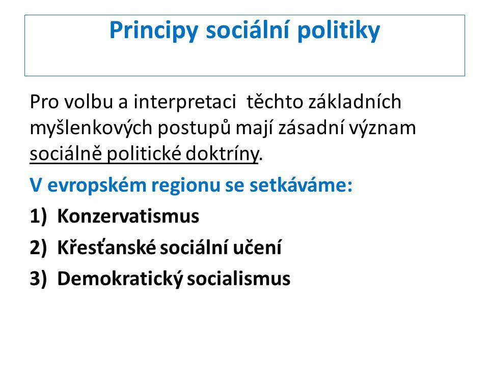 Principy sociální politiky Pro volbu a interpretaci těchto základních myšlenkových postupů mají zásadní význam sociálně politické doktríny. V evropské