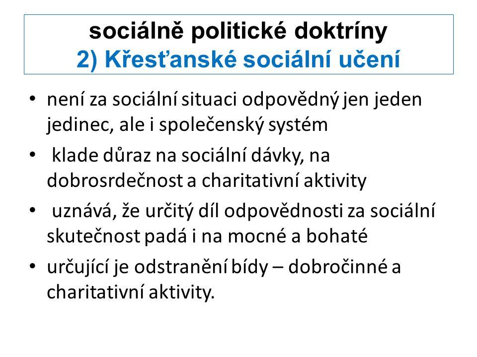 sociálně politické doktríny 2) Křesťanské sociální učení není za sociální situaci odpovědný jen jeden jedinec, ale i společenský systém klade důraz na
