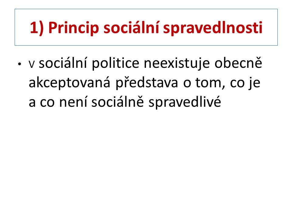 1) Princip sociální spravedlnosti – V sociální politice hovoříme o třech zásadách spravedlnosti: A) každému stejně – zásada je často nevykonatelná; musí být zde autorita, která rozhodne jaké potřeby budou uznány a kdo je bude uznávat.
