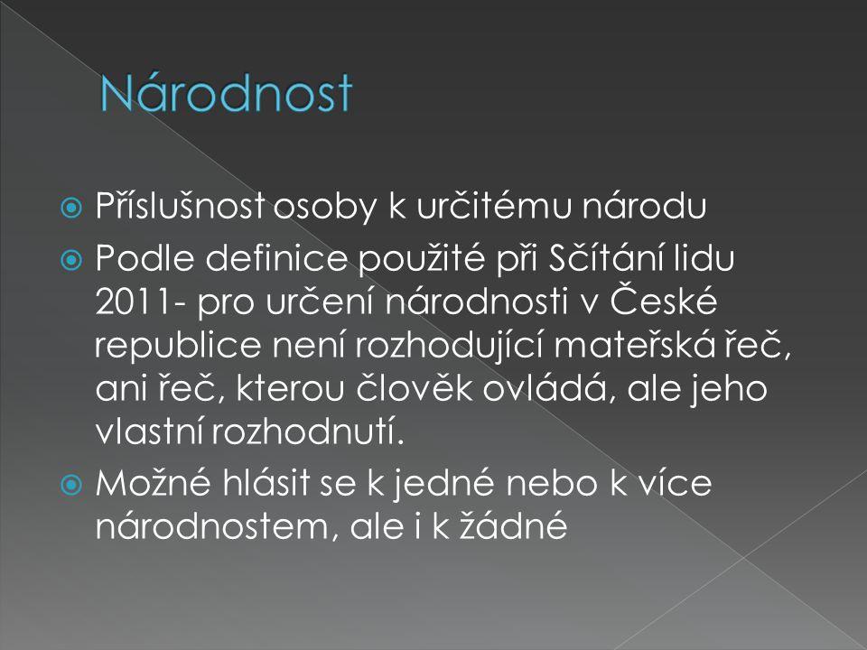  Příslušnost osoby k určitému národu  Podle definice použité při Sčítání lidu 2011- pro určení národnosti v České republice není rozhodující mateřsk