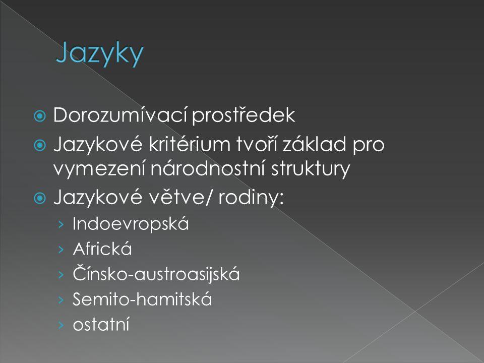  Dorozumívací prostředek  Jazykové kritérium tvoří základ pro vymezení národnostní struktury  Jazykové větve/ rodiny: › Indoevropská › Africká › Čí