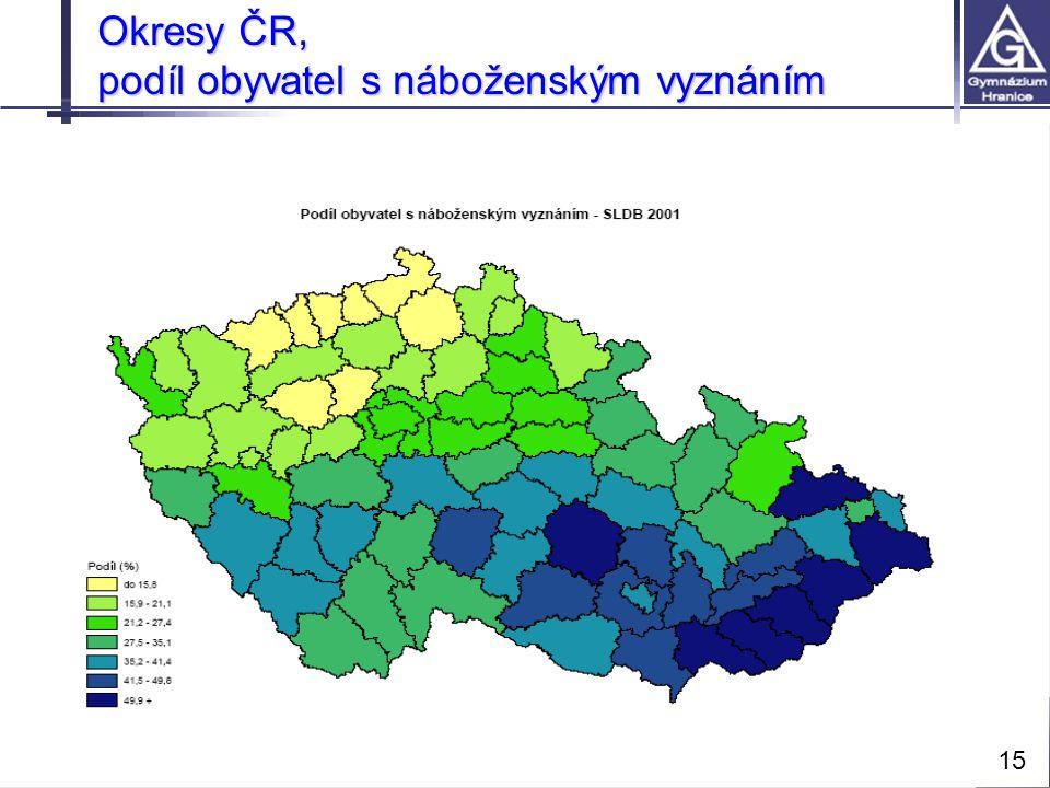Přírodní vědy moderně a interaktivně ©Gymnázium Hranice, Zborovská 293 Okresy ČR, podíl obyvatel s náboženským vyznáním 15