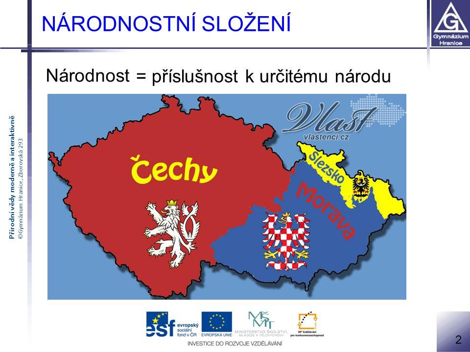 Přírodní vědy moderně a interaktivně ©Gymnázium Hranice, Zborovská 293 Národnostní složení Jak poznám národ (-nost) ??.