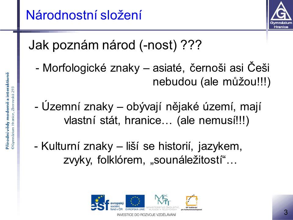 Přírodní vědy moderně a interaktivně ©Gymnázium Hranice, Zborovská 293 Národnostní složení Jednoznačný znak národa ??????.