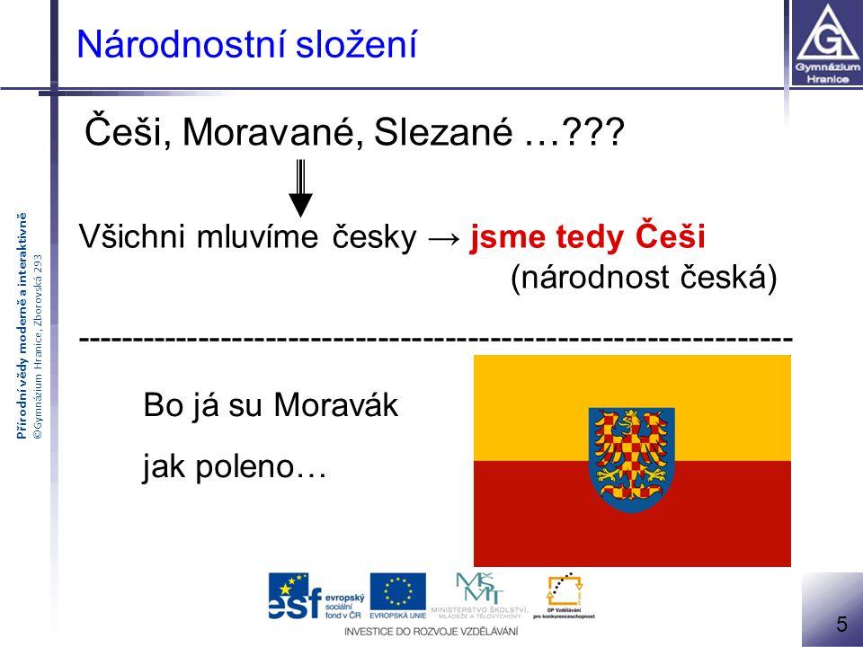 Přírodní vědy moderně a interaktivně ©Gymnázium Hranice, Zborovská 293 Češi podle sčítání lidu r.