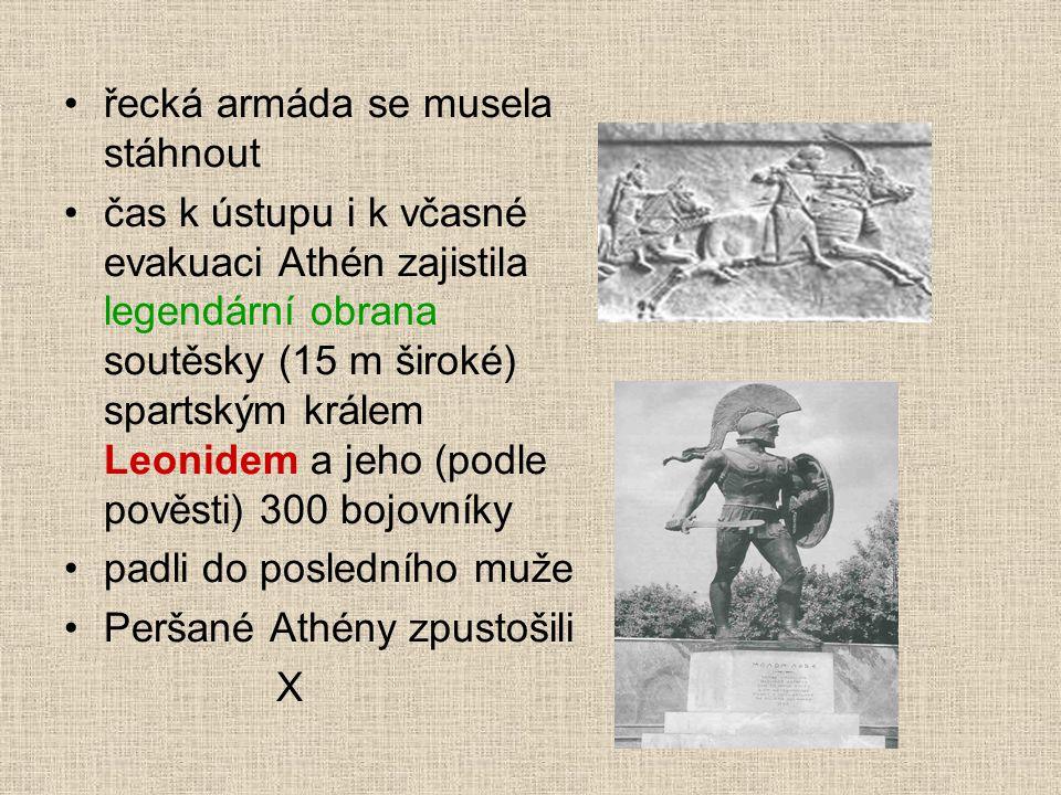 řecká armáda se musela stáhnout čas k ústupu i k včasné evakuaci Athén zajistila legendární obrana soutěsky (15 m široké) spartským králem Leonidem a