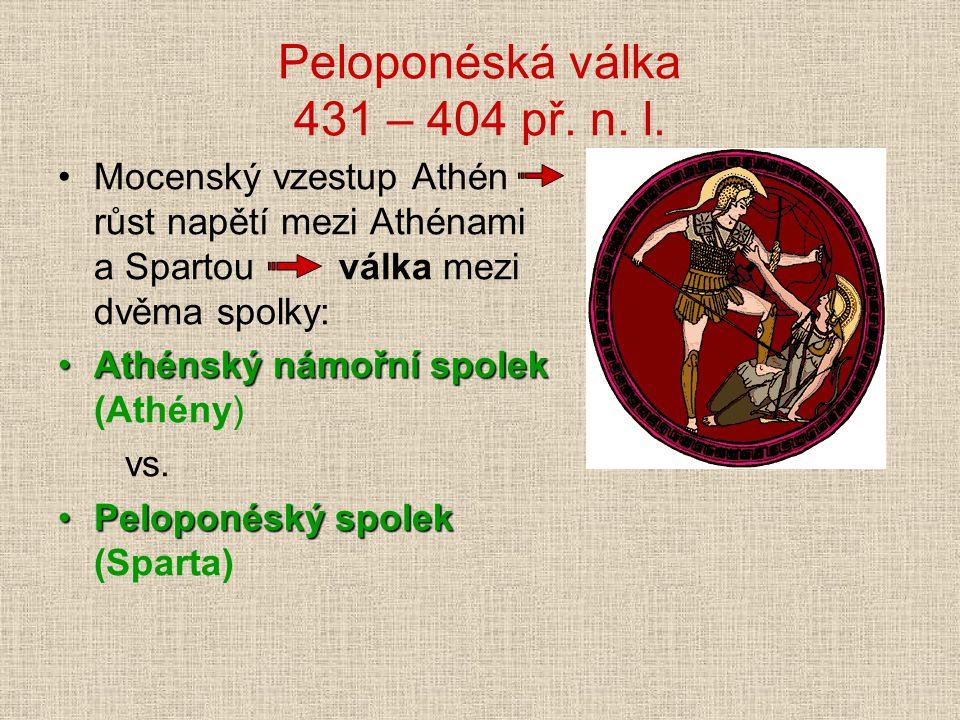 Peloponéská válka 431 – 404 př. n. l. Mocenský vzestup Athén růst napětí mezi Athénami a Spartou válka mezi dvěma spolky: Athénský námořní spolekAthén