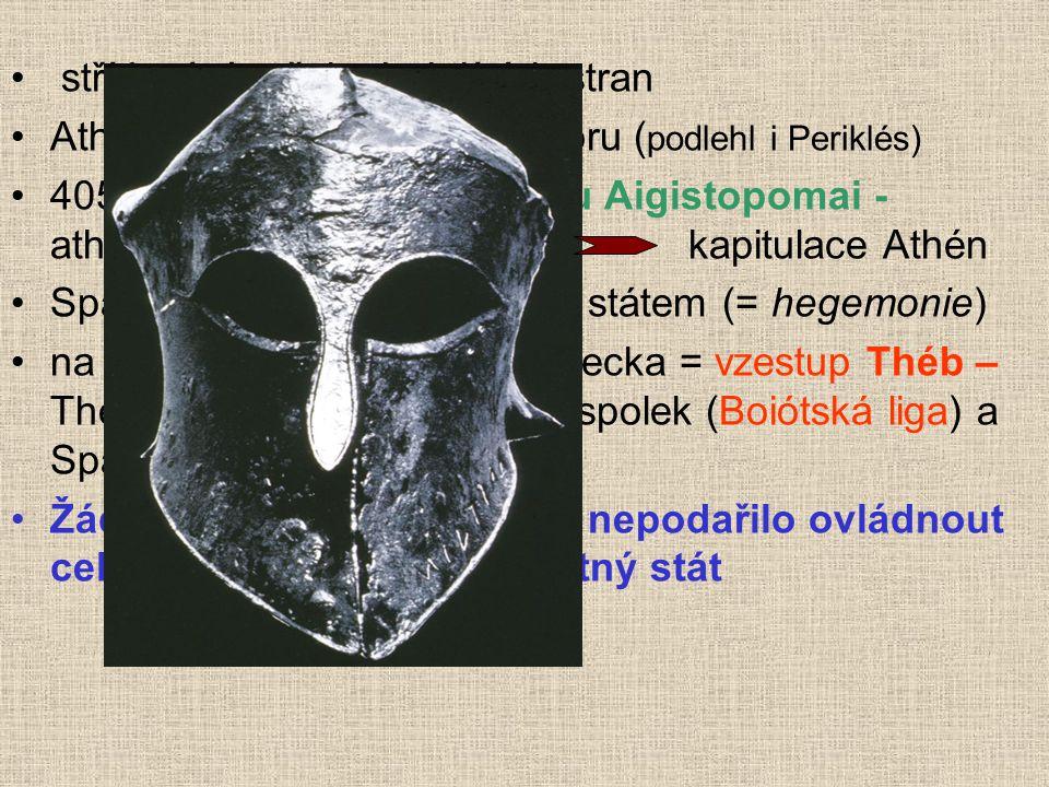 střídavé úspěchy bojujících stran Athény oslabeny epidemií moru ( podlehl i Periklés) 405 př. n. l. – námořní bitva u Aigistopomai - athénské loďstvo