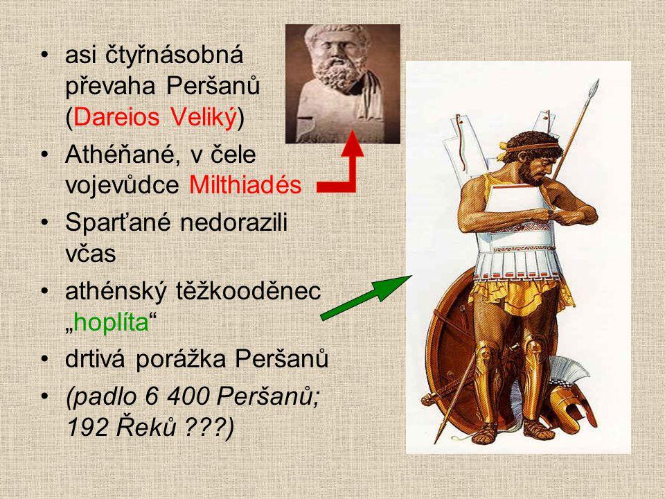 """asi čtyřnásobná převaha Peršanů (Dareios Veliký) Athéňané, v čele vojevůdce Milthiadés Sparťané nedorazili včas athénský těžkooděnec """"hoplíta"""" drtivá"""