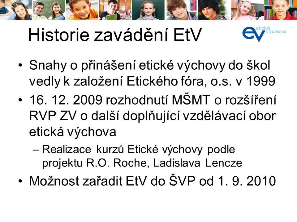 Snahy o přinášení etické výchovy do škol vedly k založení Etického fóra, o.s. v 1999 16. 12. 2009 rozhodnutí MŠMT o rozšíření RVP ZV o další doplňujíc
