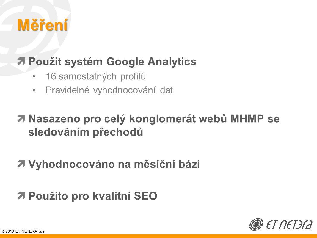 © 2010 ET NETERA a.s. Měření  Použit systém Google Analytics 16 samostatných profilů Pravidelné vyhodnocování dat  Nasazeno pro celý konglomerát web