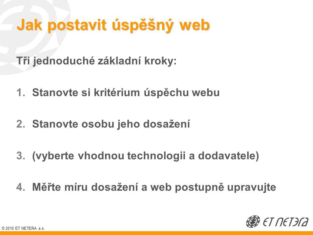 © 2010 ET NETERA a.s. Jak postavit úspěšný web Tři jednoduché základní kroky: 1.Stanovte si kritérium úspěchu webu 2.Stanovte osobu jeho dosažení 3.(v