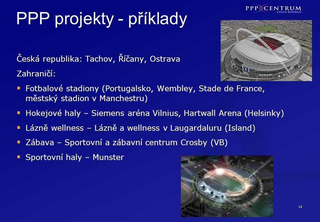 13 PPP projekty - příklady Česká republika: Tachov, Říčany, Ostrava Zahraničí:  Fotbalové stadiony (Portugalsko, Wembley, Stade de France, městský st