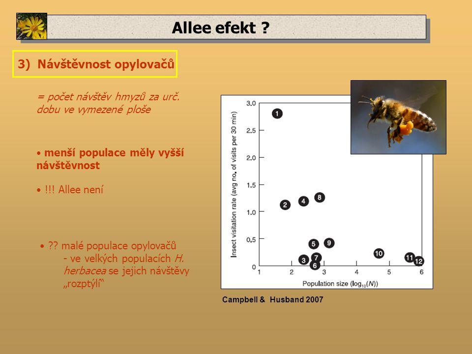 Allee efekt . 3) Návštěvnost opylovačů = počet návštěv hmyzů za urč.