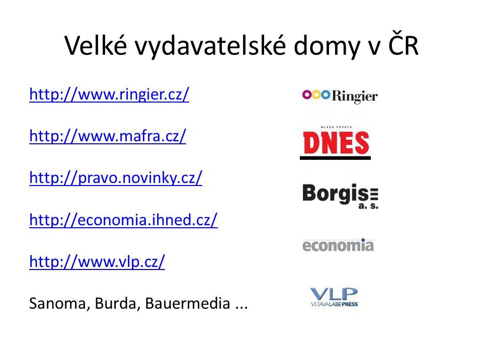 Velké vydavatelské domy v ČR http://www.ringier.cz/ http://www.mafra.cz/ http://pravo.novinky.cz/ http://economia.ihned.cz/ http://www.vlp.cz/ Sanoma,