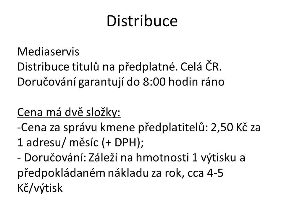 Distribuce Mediaservis Distribuce titulů na předplatné. Celá ČR. Doručování garantují do 8:00 hodin ráno Cena má dvě složky: -Cena za správu kmene pře