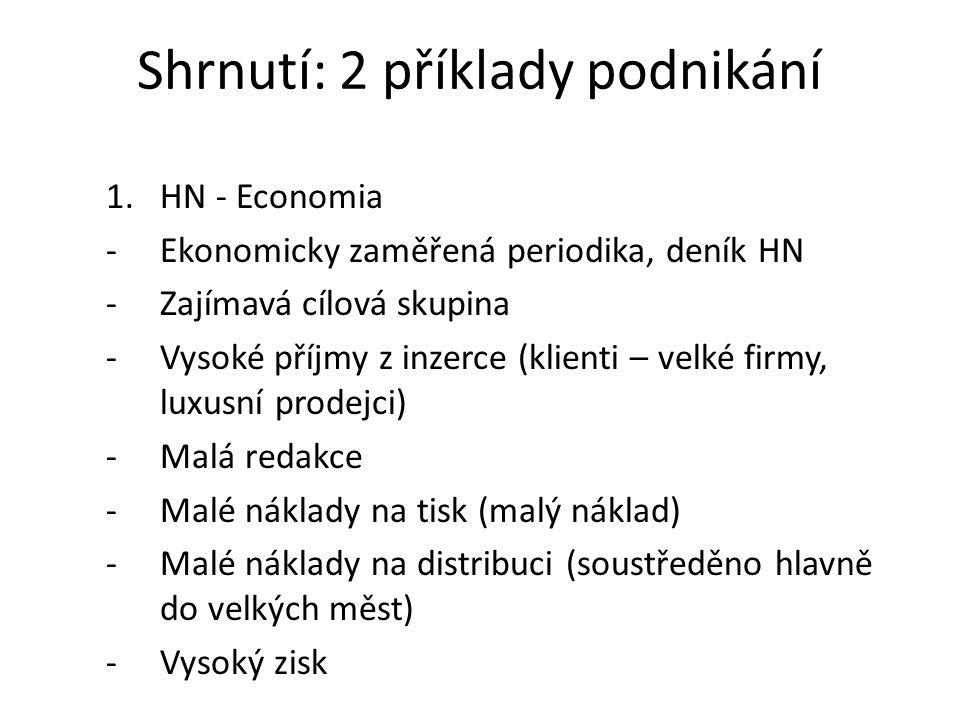 Shrnutí: 2 příklady podnikání 1.HN - Economia -Ekonomicky zaměřená periodika, deník HN -Zajímavá cílová skupina -Vysoké příjmy z inzerce (klienti – ve