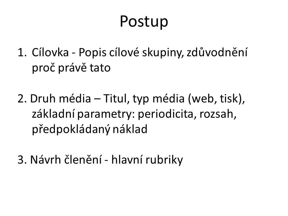 Postup 1.Cílovka - Popis cílové skupiny, zdůvodnění proč právě tato 2. Druh média – Titul, typ média (web, tisk), základní parametry: periodicita, roz