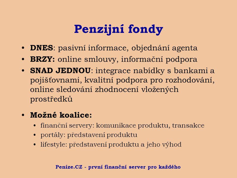 Peníze.CZ - první finanční server pro každého Penzijní fondy DNES : pasivní informace, objednání agenta BRZY: online smlouvy, informační podpora SNAD