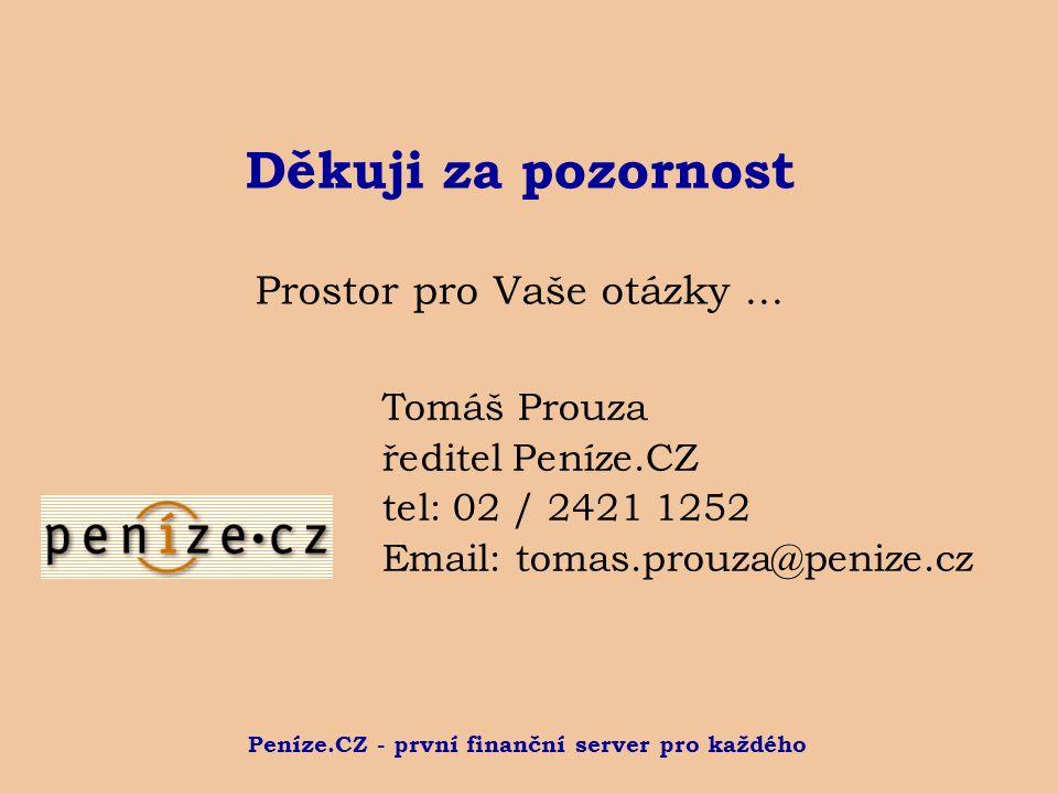 Peníze.CZ - první finanční server pro každého Děkuji za pozornost Prostor pro Vaše otázky... Tomáš Prouza ředitel Peníze.CZ tel: 02 / 2421 1252 Email: