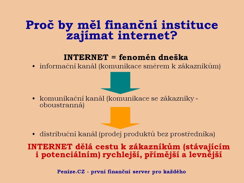 Peníze.CZ - první finanční server pro každého Proč by měl finanční instituce zajímat internet? INTERNET = fenomén dneška informační kanál (komunikace