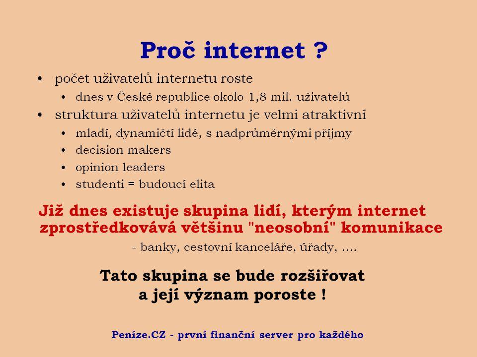 Peníze.CZ - první finanční server pro každého Proč internet ? počet uživatelů internetu roste dnes v České republice okolo 1,8 mil. uživatelů struktur
