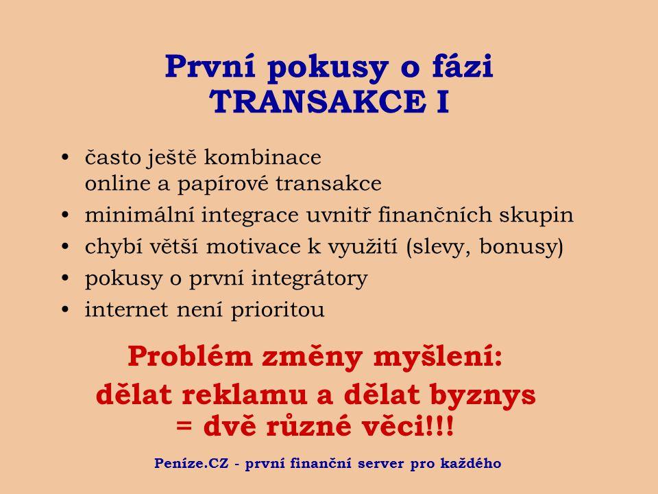 Peníze.CZ - první finanční server pro každého První pokusy o fázi TRANSAKCE I často ještě kombinace online a papírové transakce minimální integrace uv