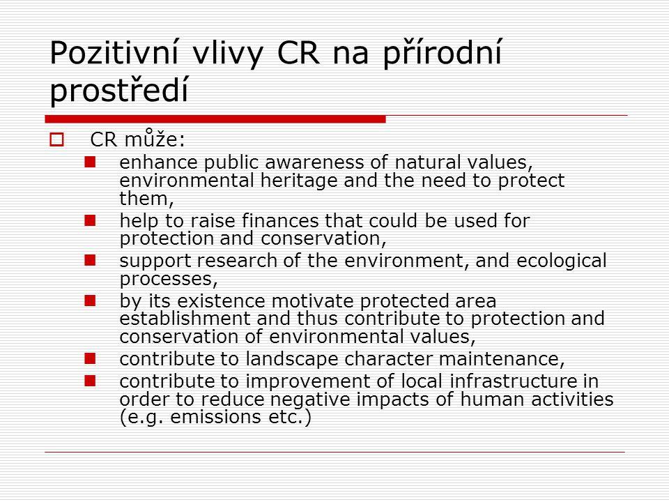 Negativní vlivy CR na přírodní prostředí  Projevují se v 5 oblastech biodiversity, physical damage of landscape and erosion, pollution and waste, natural resources, visual and structural changes of landscape character