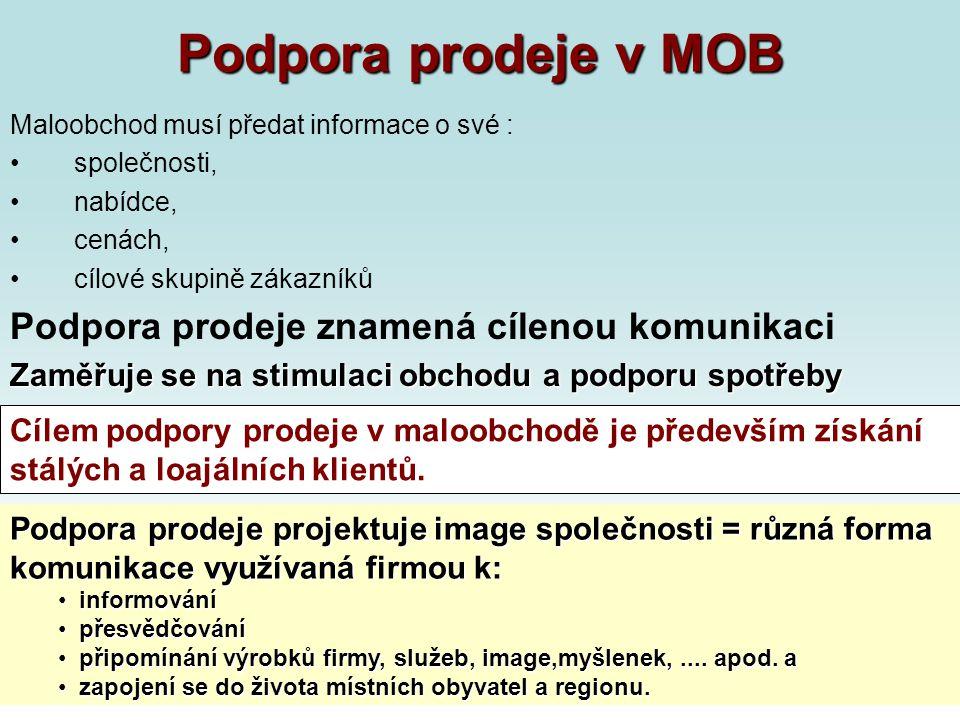 Podpora prodeje v MOB Maloobchod musí předat informace o své : společnosti, nabídce, cenách, cílové skupině zákazníků Podpora prodeje znamená cílenou