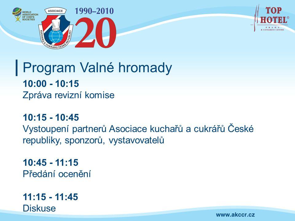 Program Valné hromady 10:00 - 10:15 Zpráva revizní komise 10:15 - 10:45 Vystoupení partnerů Asociace kuchařů a cukrářů České republiky, sponzorů, vyst