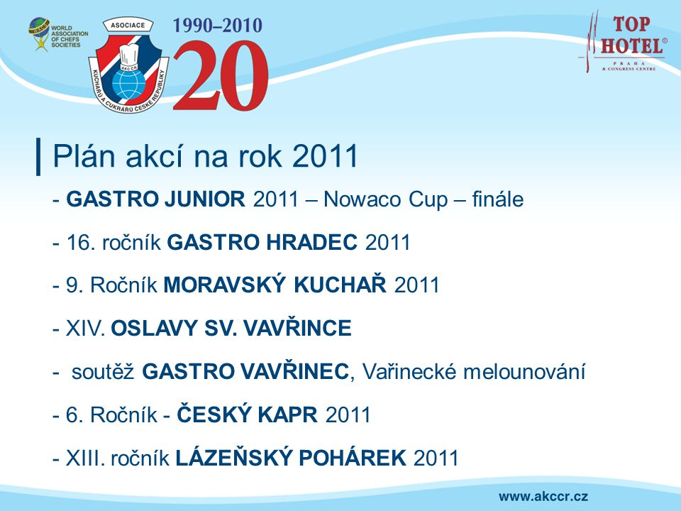 Plán akcí na rok 2011 - GASTRO JUNIOR 2011 – Nowaco Cup – finále - 16. ročník GASTRO HRADEC 2011 - 9. Ročník MORAVSKÝ KUCHAŘ 2011 - XIV. OSLAVY SV. VA