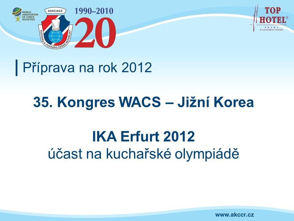 Příprava na rok 2012 35. Kongres WACS – Jižní Korea IKA Erfurt 2012 účast na kuchařské olympiádě