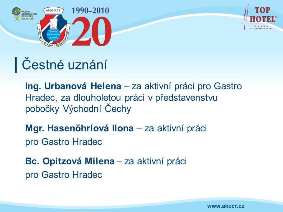 Čestné uznání Ing. Urbanová Helena – za aktivní práci pro Gastro Hradec, za dlouholetou práci v představenstvu pobočky Východní Čechy Mgr. Hasenöhrlov