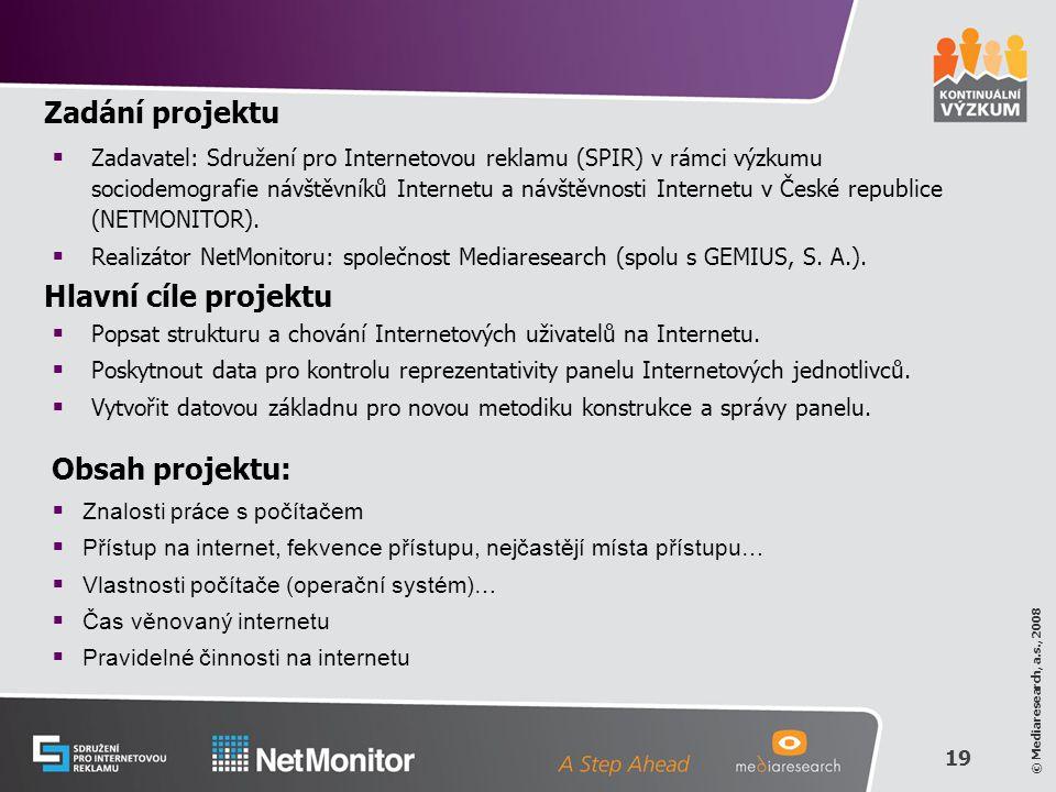 19 © Mediaresearch, a.s., 2008 Zadání projektu  Zadavatel: Sdružení pro Internetovou reklamu (SPIR) v rámci výzkumu sociodemografie návštěvníků Internetu a návštěvnosti Internetu v České republice (NETMONITOR).