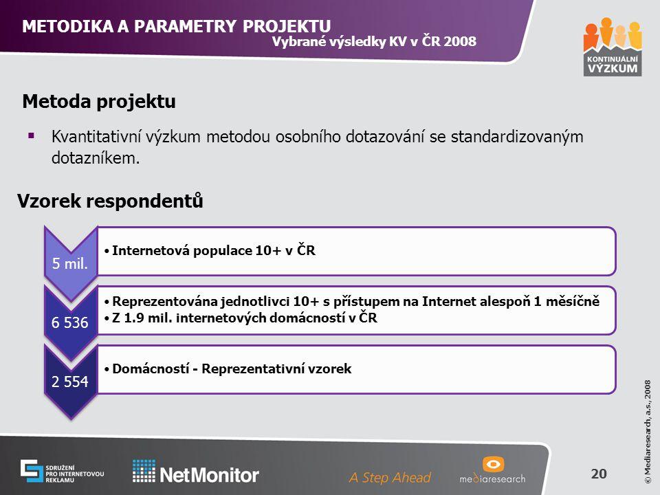 20 © Mediaresearch, a.s., 2008 Vzorek respondentů Metoda projektu  Kvantitativní výzkum metodou osobního dotazování se standardizovaným dotazníkem.