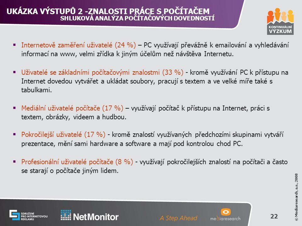 22 © Mediaresearch, a.s., 2008  Internetově zaměření uživatelé (24 %) – PC využívají převážně k emailování a vyhledávání informací na www, velmi zřídka k jiným účelům než návštěva Internetu.
