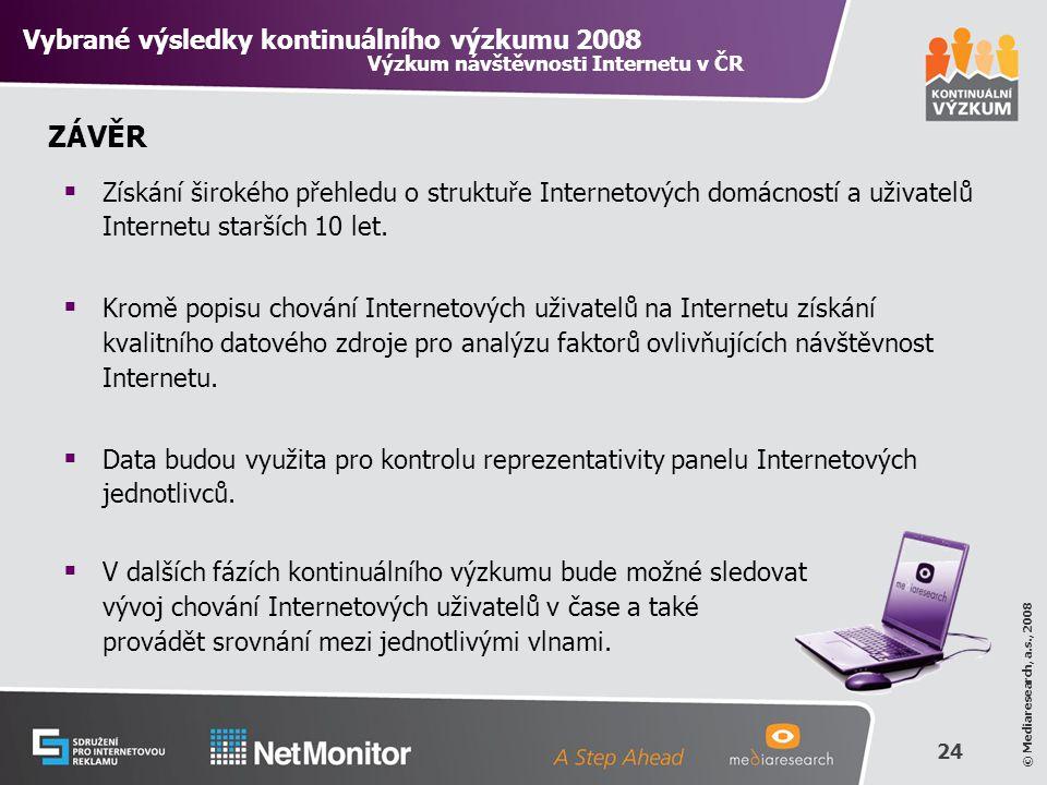24 © Mediaresearch, a.s., 2008 ZÁVĚR  Získání širokého přehledu o struktuře Internetových domácností a uživatelů Internetu starších 10 let.