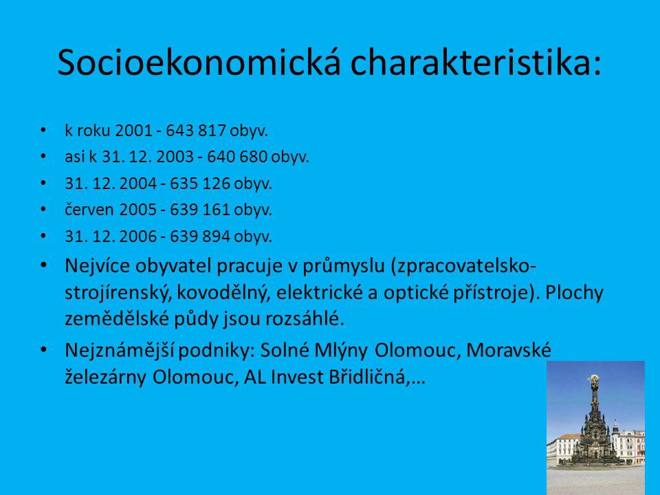Socioekonomická charakteristika: k roku 2001 - 643 817 obyv. asi k 31. 12. 2003 - 640 680 obyv. 31. 12. 2004 - 635 126 obyv. červen 2005 - 639 161 oby