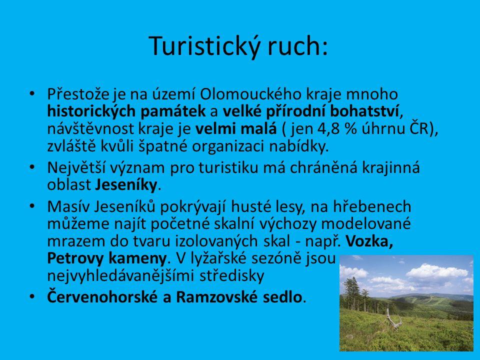 Turistický ruch: Přestože je na území Olomouckého kraje mnoho historických památek a velké přírodní bohatství, návštěvnost kraje je velmi malá ( jen 4