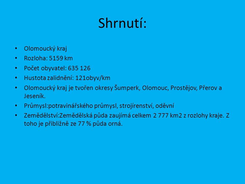 Shrnutí: Olomoucký kraj Rozloha: 5159 km Počet obyvatel: 635 126 Hustota zalidnění: 121obyv/km Olomoucký kraj je tvořen okresy Šumperk, Olomouc, Prost